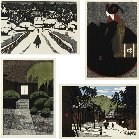 winter in aizu beauty village of mino garden set of 4 by kiyoshi saito