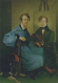 autoritratto accanto al fratello e a un cane by angelo adolfo levi