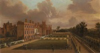 view of st. james's palace and the gardens, from the south-west with figures promenading by hendrick danckerts