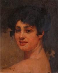 portrait de jeune femme brune by emile aubry