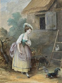 a peasant girl approaching cautiously a rooster and a couple of hens outside of a thatched farmhouse by niklas lafrensen the younger
