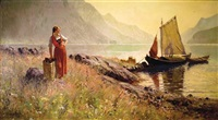 norwegian lakeside landscape with figures by hans dahl