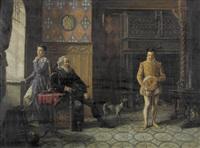 historisierendes schlossinterieur mit einer familie by theodore de saussure