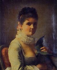jeune fille au perroquet by jeanne bole