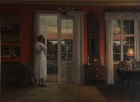drawing room interior with a lady enjoying the sunset at the garden door by hans hilsoe
