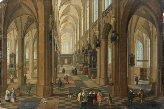 vue de lintérieur de la cathédrale notre dame danvers by peeter neeffs the elder
