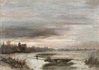 landschaft mit fluß und stadtsilhouette by ferdinand lindner