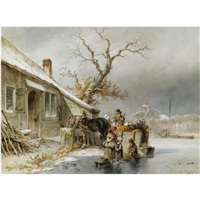 woodgatherers on the ice by jan geerard smits