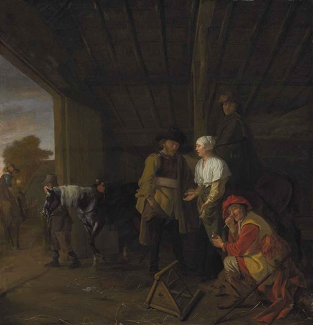paying the hostess by ludolf de jongh
