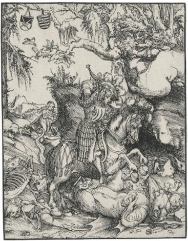 saint george on horseback slaying the dragon by lucas cranach the younger