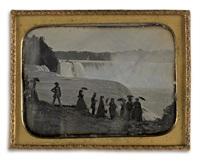 a large group of well-dressed tourists at niagara falls by platt d. babbitt