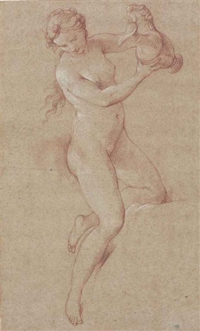 a nude woman holding an ewer study for hebe by charles joseph natoire