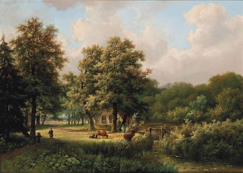 a visitor at a lakeside farmstead by marinus adrianus koekkoek the elder