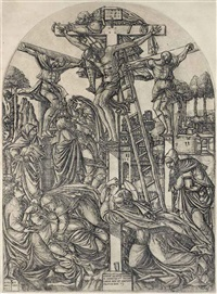 christ on the cross between two thieves by jean duvet
