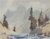 untitled- river through mountain landscape by alfred crocker leighton