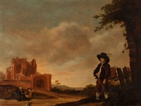 landscape with ruins and figures by benjamin gerritsz cuyp