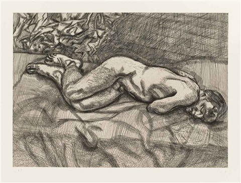 naked man on a bed by lucian freud