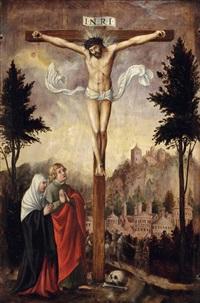 christus am kreuz mit der heiligen mutter maria und dem heiligen johannes vor landschaft mit burg by peter gottlandt