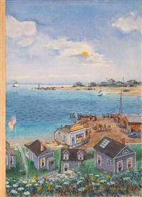 aerial view of quaint harbor village (cover study for the new yorker) by albert hubbell