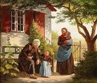en lille pige, der lader en gammel mand lugte til en rose by johann julius exner