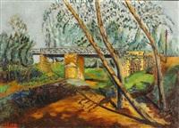 landscape with bridge by meir gur-arie