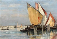 harbour view from venice by emile louis vernier