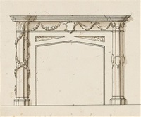 three designs for fireplaces (various sizes; 3 works) by john linnell