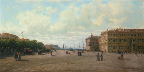view of palace square st petersburg by petr petrovich vereshchagin