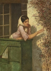 young woman on a balcony by william morris hunt