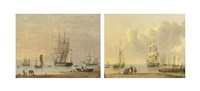 a royal navy frigate drifting from her anchorage on the humber (+ shipping becalmed on the humber (both illustrated); pair) by john ward