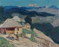 vue du caucase by manuil (emmanuil, manuk) aladzhalov