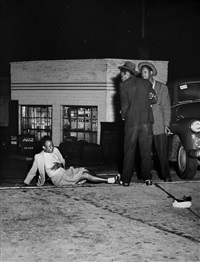 milwaukee (woman knocked over in a brawl) by weegee