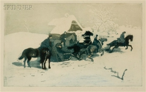 horsemen and sleigh before a cottage by adolf j jelinek alex