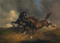 pferde während eines gewitters (horses during a thunderstorm) by johann rudolf koller