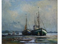 old portsmouth fishing boats beached at low tide by alfred ackrill