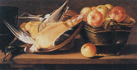 a still life of two ducks on a stoneware plate and apples in a copper bowl by cornelis jacobsz delff