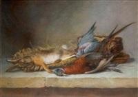 nature morte de chasse au lapin, faisan et au pigeon by antoine-ferdinand attendu