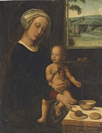 the holy virgin and child with the milk soup by gerard david