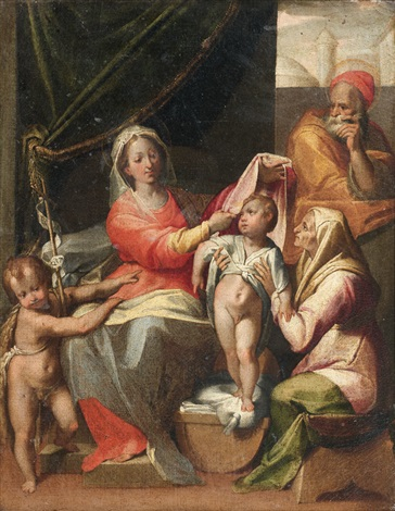 la sainte famille avec saint jean baptiste et sainte elisabeth by jacob de backer