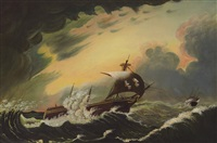 red rover in stormy sea by thomas chambers