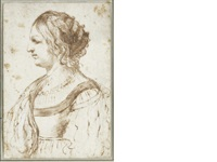the head and shoulders of a lady, in profile to the left by guercino