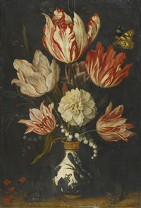 still life of variegated tulips in a ceramic vase, with a wasp, a dragonfly, a butterfly and a lizard by balthasar van der ast