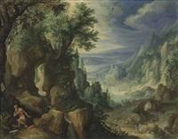 saint jerome praying in a rocky landscape by paul bril