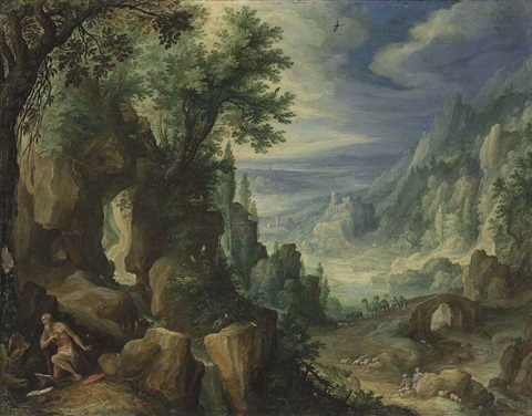 saint jerome praying in a rocky landscape by paul bril