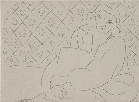figure assise sur fond de carreaux fleuris by henri matisse