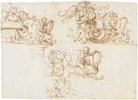three designs for a decorative frieze with putti and harpies among foliate scrolls by filippo (filippino) lippi