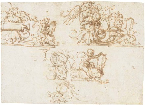 three designs for a decorative frieze with putti and harpies among foliate scrolls by filippo filippino lippi