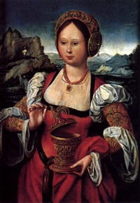 the magdalen holding an ointment jar, an extensive landscape beyond by master of the mansi magdalene