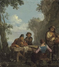four peasants playing music by paolo monaldi