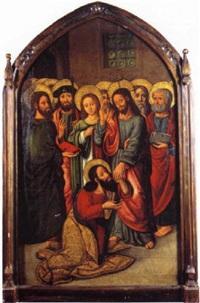 saint thomas aux pieds du christ entouré de la vierge et des apôtres by juan correa de vivar